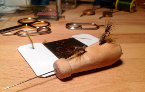 adapted from an elk hair caddis pattern, I chose an olive colour with roe deer hair to match the local favourite colours...